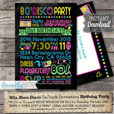 80s Neon Birthday Invitation Neon Invitations Templates Free