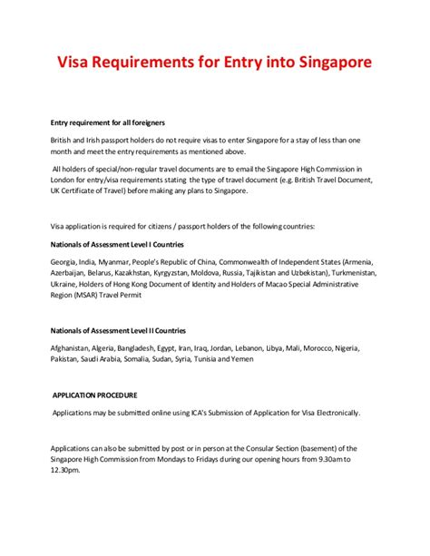 Employment Letter Requirements Visa Requirements For Entry Into Singapore