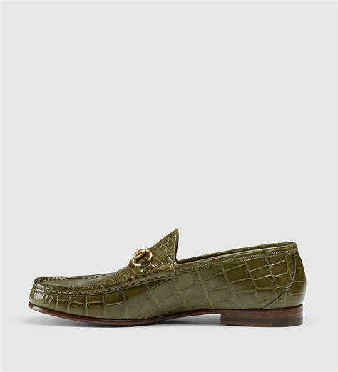 mens crocodile loafers lyst gucci s crocodile 1953 horsebit loafer in green