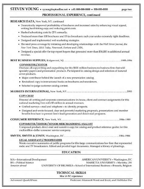 Copy Of A Resume by Copywriter Resume Exle Marketing Sle Resumes
