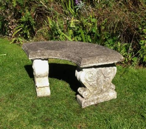 curved stone bench small curved stone bench in from the vintage garden company