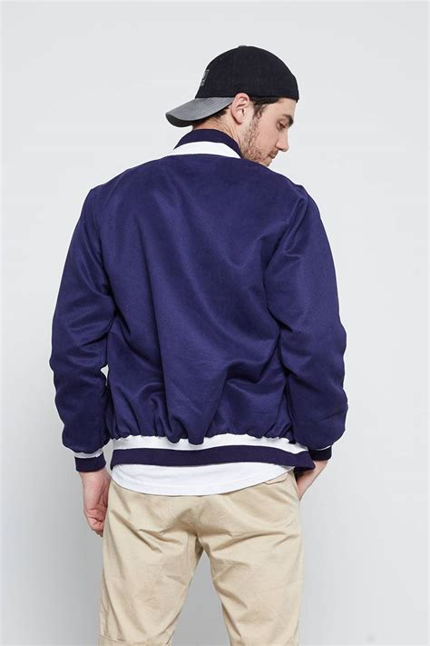Jaket Qing Navy Berry sell bomber suede jackets shopdeca