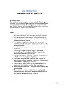 Human Resources Manager Duties by Human Resources Manager Description Template Sle Form Biztree