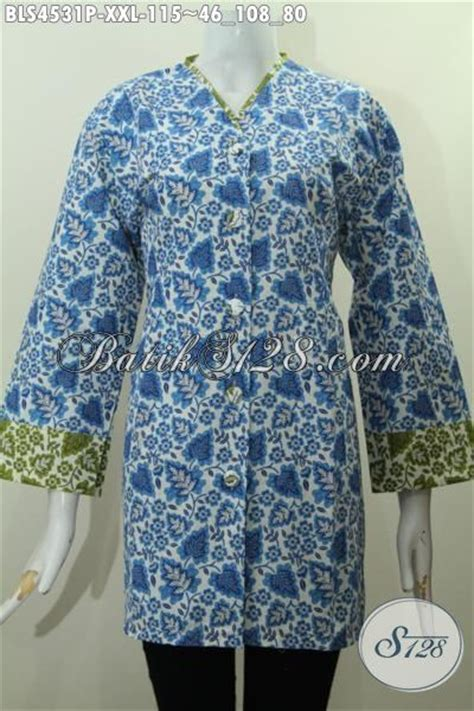 Blus Kerah V busana batik blus untuk wanita gemuk baju batik plisir ukuran jumbo model kerah v warna biru