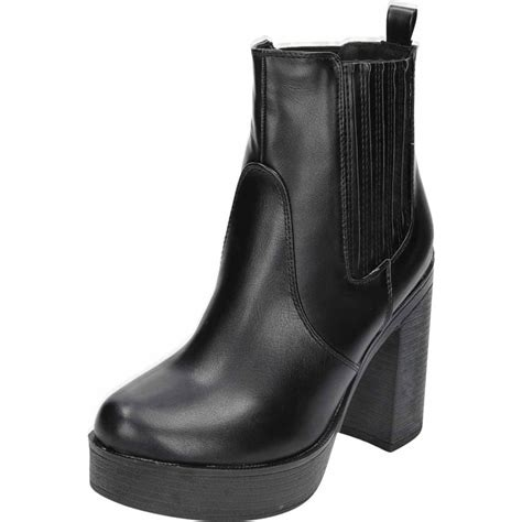 koi couture black chunky high heel platform pull on ankle