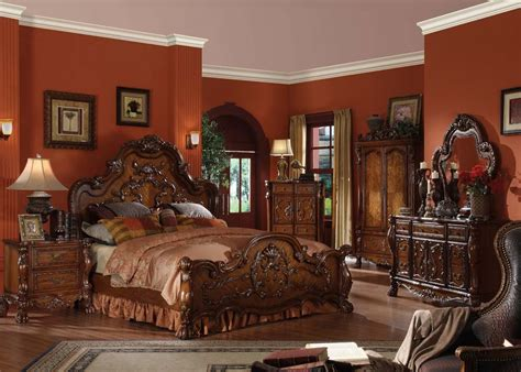 Acme Bedroom Sets by 4 Pc Acme Dresden Bedroom Set In Cherry Finish