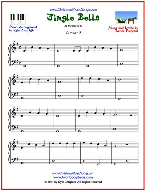 printable version of jingle bells jingle bells piano sheet music free printable pdf