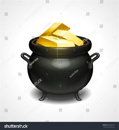Stock Pot Golden pot gold vector stock vector 368002577