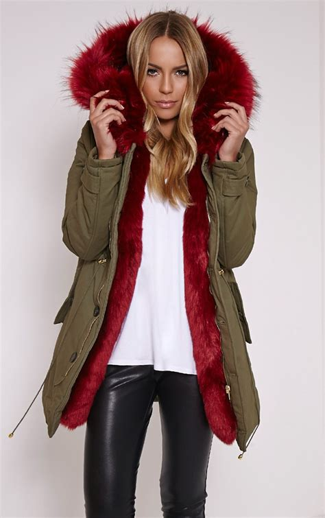 Zurrel Jaket Parka Canvas Premium Green jen fur lined premium parka coat coats jackets