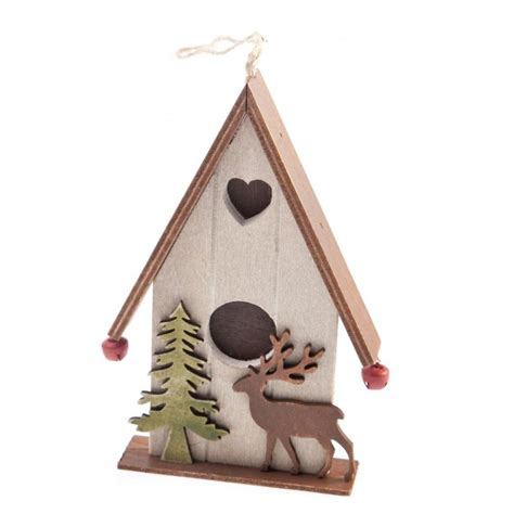 gisela graham christmas wooden chalet hanging decoration