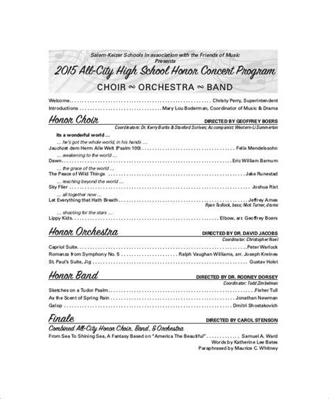 9 Sle Concert Programs Pdf Psd Word Illustrator Sle Templates Concert Program Templates