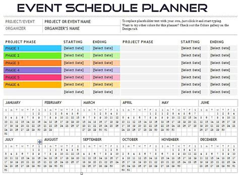 event scheduler planner spreadsheet template excel