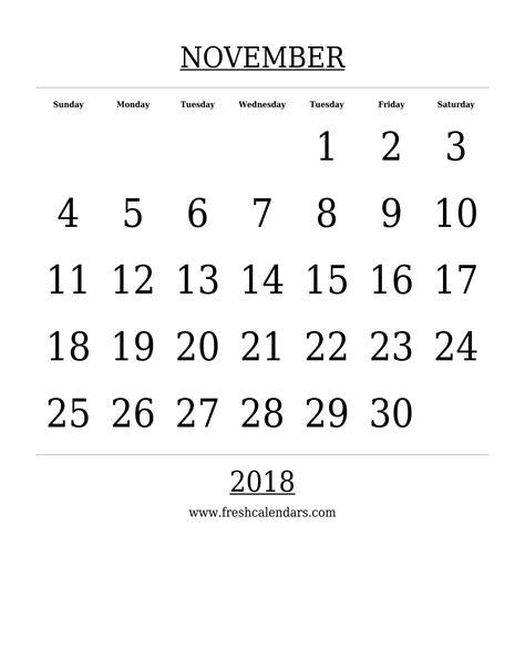 Calendar 2018 Template Printable November 2018 Printable Calendar Templates
