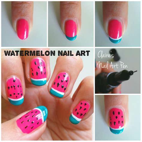 tutorial watermelon nail design nail art design watermelons all