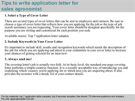 Sales agronomist application letter