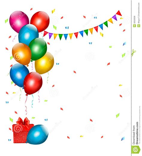 Undangan Ulang Tahun Birthday Invitation Colorful Theme 与五颜六色的气球和礼物的假日背景 向量例证 图片 包括有 节假日 装饰 飞行 五颜六色 钞票 生日