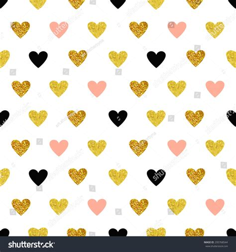 gold heart pattern vector seamless pattern with hearts of rose gold and black