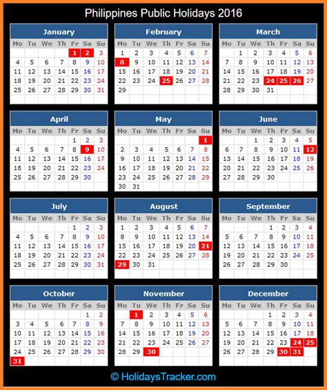Calendar 2016 Printable With Holidays Philippines Philippines Holidays 2016 Holidays Tracker