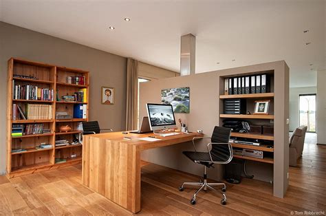 open home office earth tones and built ins an open and integrated home office