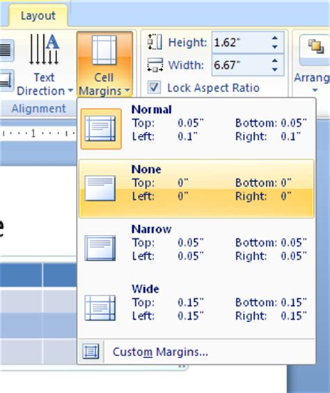 change cells margins and table sizes table 171 chart table 171 microsoft office powerpoint 2007
