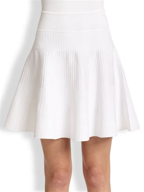knit flare skirt milly ribbed knit flared skirt in white lyst
