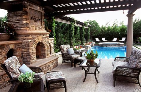 backyard patio designs with fireplace five top trends in patio designs