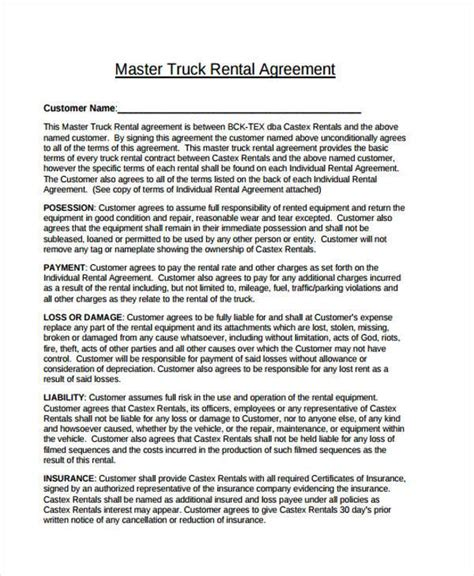 Sle Truck Lease Agreements 9 Free Documents In Word Pdf Truck Driver Contract Agreement Template