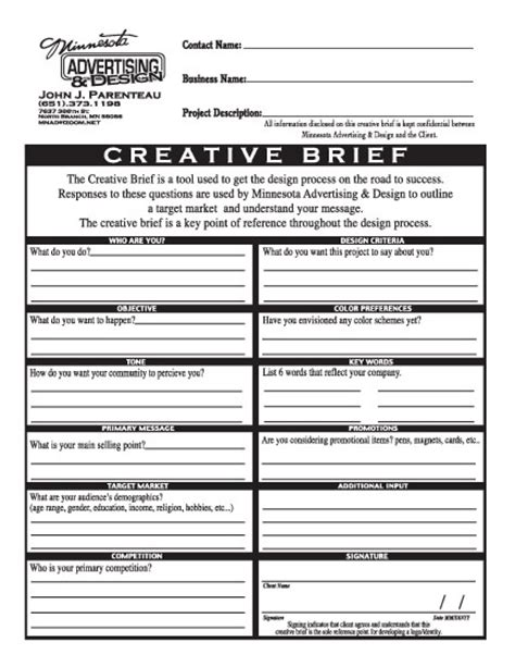 marketing brief template creative brief exle graphic design work