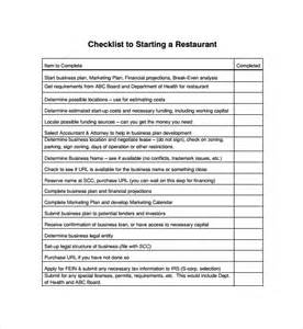 Restaurant Checklist Template by Sle Restaurant Checklist Template 7 Free Documents