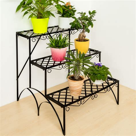 3 tier metal garden plant pot display shelf stand flower