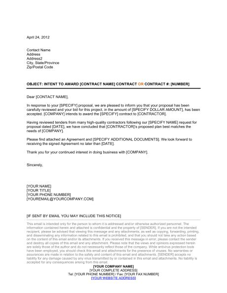awarding contract letter template word