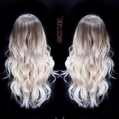 platinum blonde ombre hair icy blonde ombre hair color kc studio hair pinterest