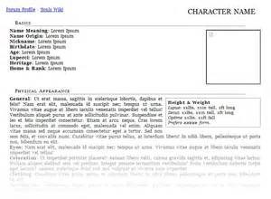 Character Template Sheet by Character Bio Template Peerpex