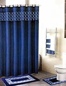 Navy Blue Bathroom Rug Set Navy Blue 18 Bathroom Set Fabric Shower Curtain 12 Shower Rings Bath Mat