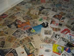 decoupage floor using vintage magazine ads work