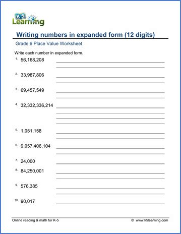 Write In Expanded Form Worksheet by Grade 6 Math Worksheet Place Value Writing Numbers In