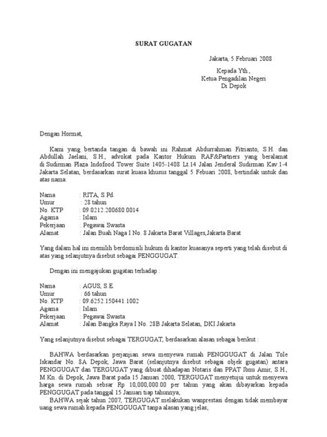 Contoh Surat: Contoh Surat Gugatan Wanprestasi Sewa Menyewa