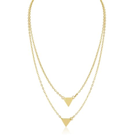 Triangle Layer layer triangle necklace white yellow tone bellechic