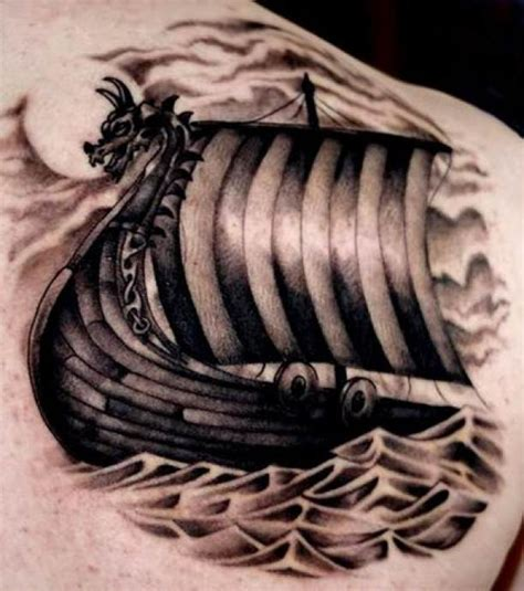 viking ship tattoo shoulder blade ideas tattoo designs