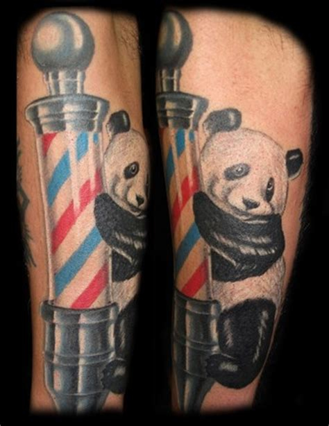 barber pole tattoo designs panda on barber pole tattoos