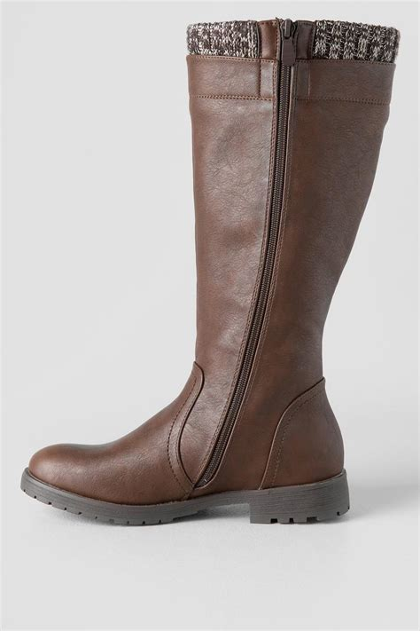 Trim Boots tucky brown knee high sweater trim boot boots and
