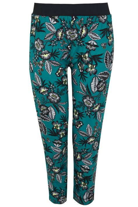 Idw081 Yellow Size 14 5 green yellow floral leaf print jersey harem trousers