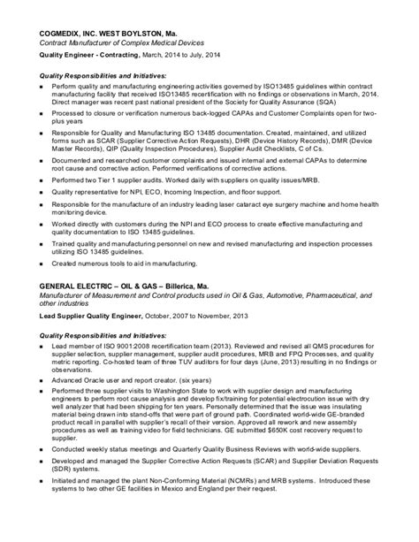 Supplier Quality Engineer Cover Letter by Resume Supplier Quality Engineer 28 Images Fresh Supplier Quality Engineer Cover Letter