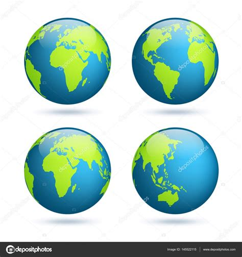 australia globe map earth globe world map set planet with continents africa