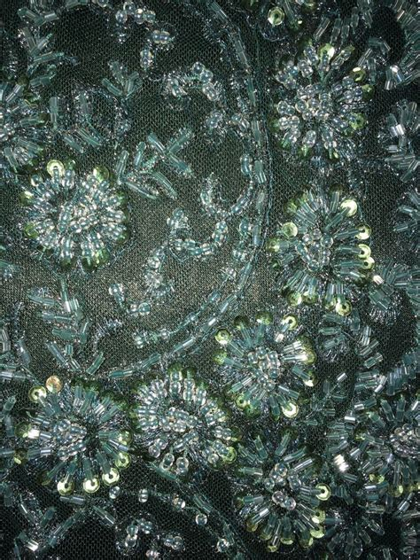beaded fabric by the yard emerald lace seqins made beaded high end bridal lace