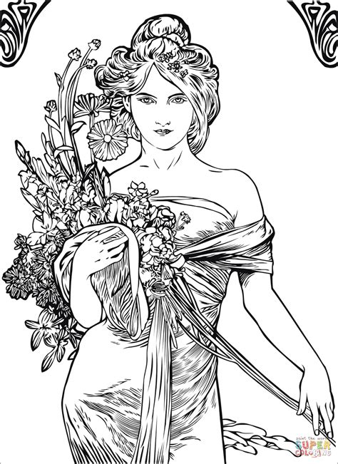 painting and coloring by alfons mucha coloring page free printable