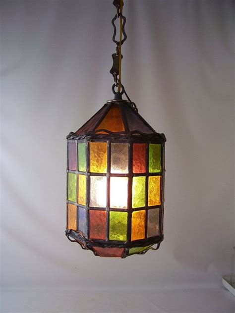 vintage stained glass ls vintage stained glass leaded hanging light l chandelier