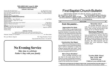 memorial service programs sle first baptist church