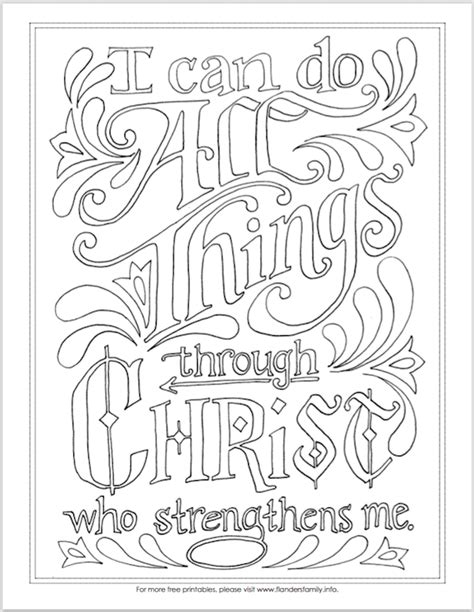 """I Can Do All Things"" Coloring Page - Flanders Family Homelife"