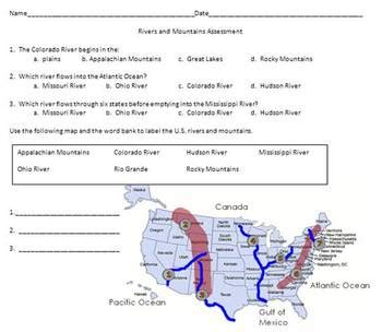 Us Map With 5 Major Rivers